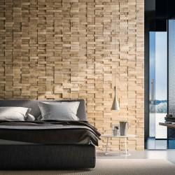 Chambre avec panneaux muraux en peuplier